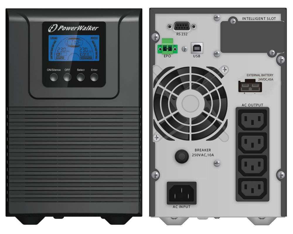 Zasilacz UPS online 1000VA/900W VFI 1000 TGB PowerWalker