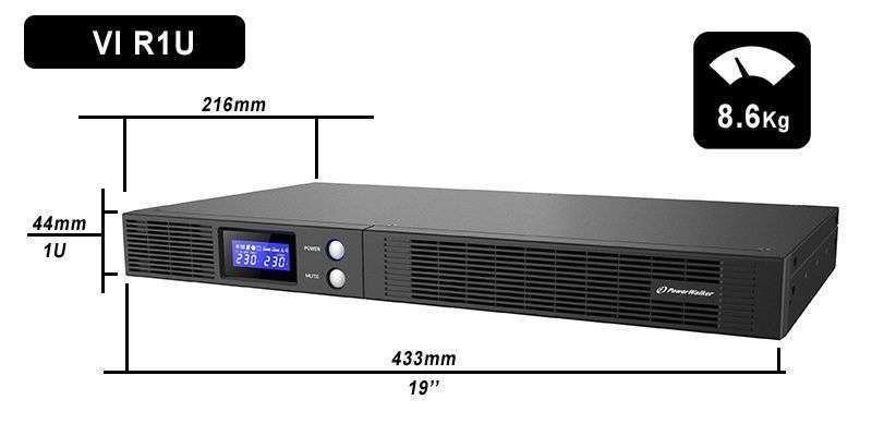 VI 750 R1U PowerWalker wymiary i waga