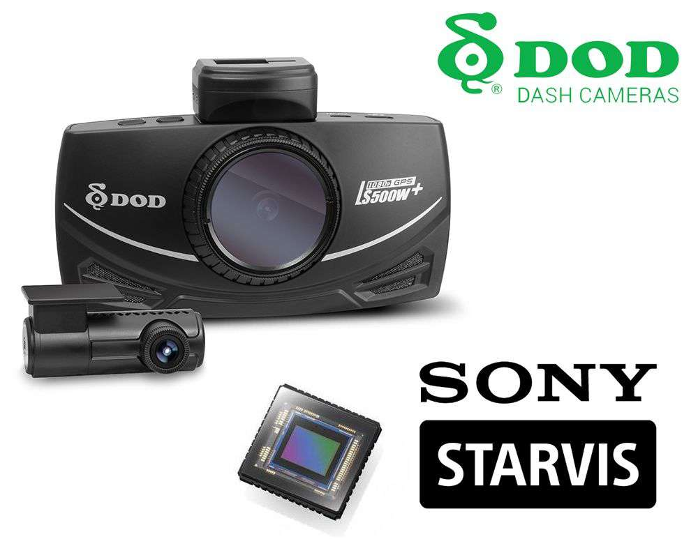Kamera samochodowa DoD LS500W+ - na przód i tył