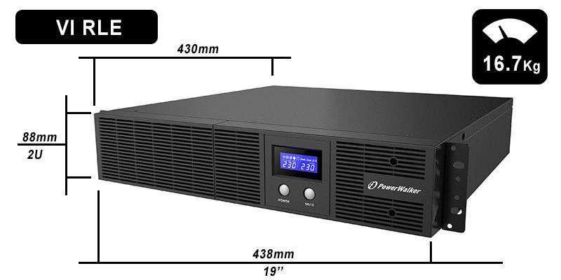 VI 2200 RLE PowerWalker wymiary i waga