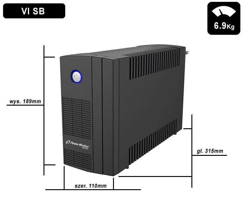 VI 1000 SB FR PowerWalker wymiary i waga