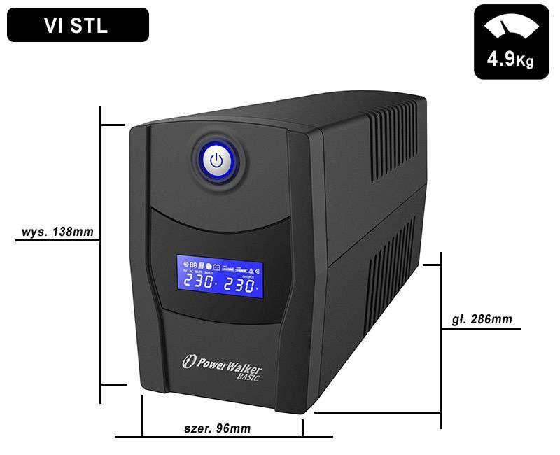 VI 1000 STL FR PowerWalker wymiary i waga