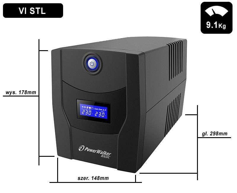 VI 1500 STL FR PowerWalker wymiary i waga