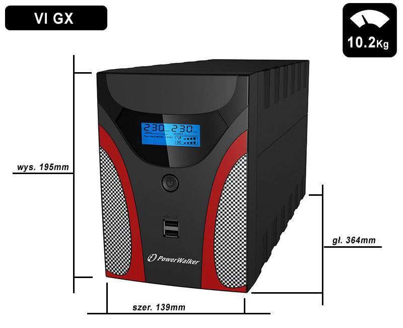 VI 2200 GX FR PowerWalker wymiary i waga