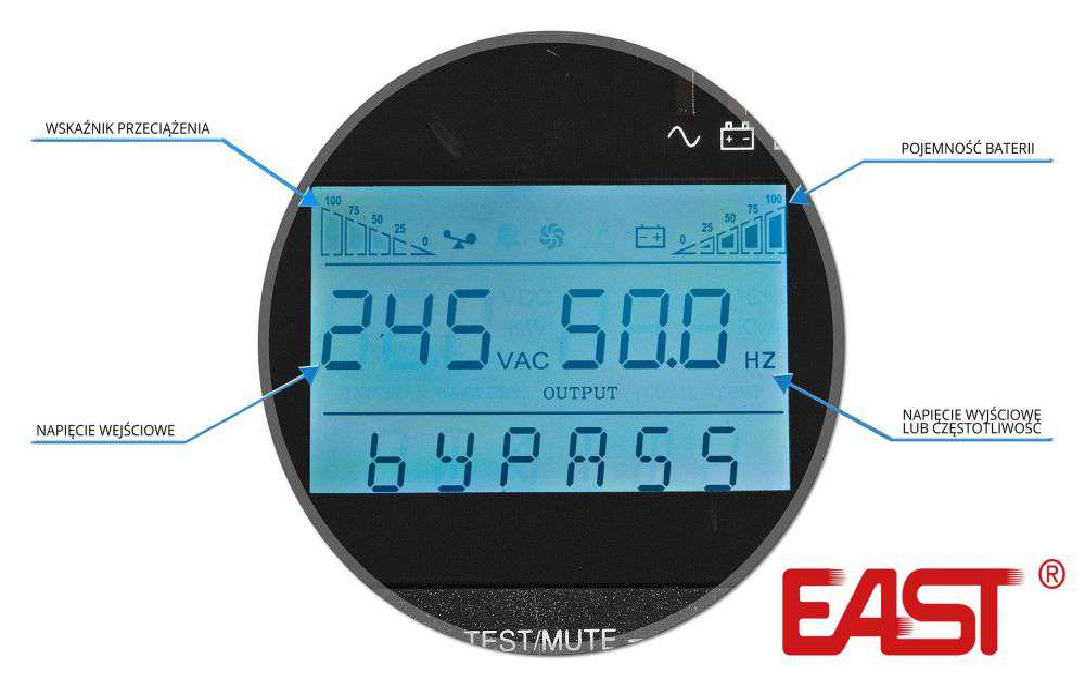 UPS1000-LCD EAST WBUDOWANY WYŚWIETLACZ LCD