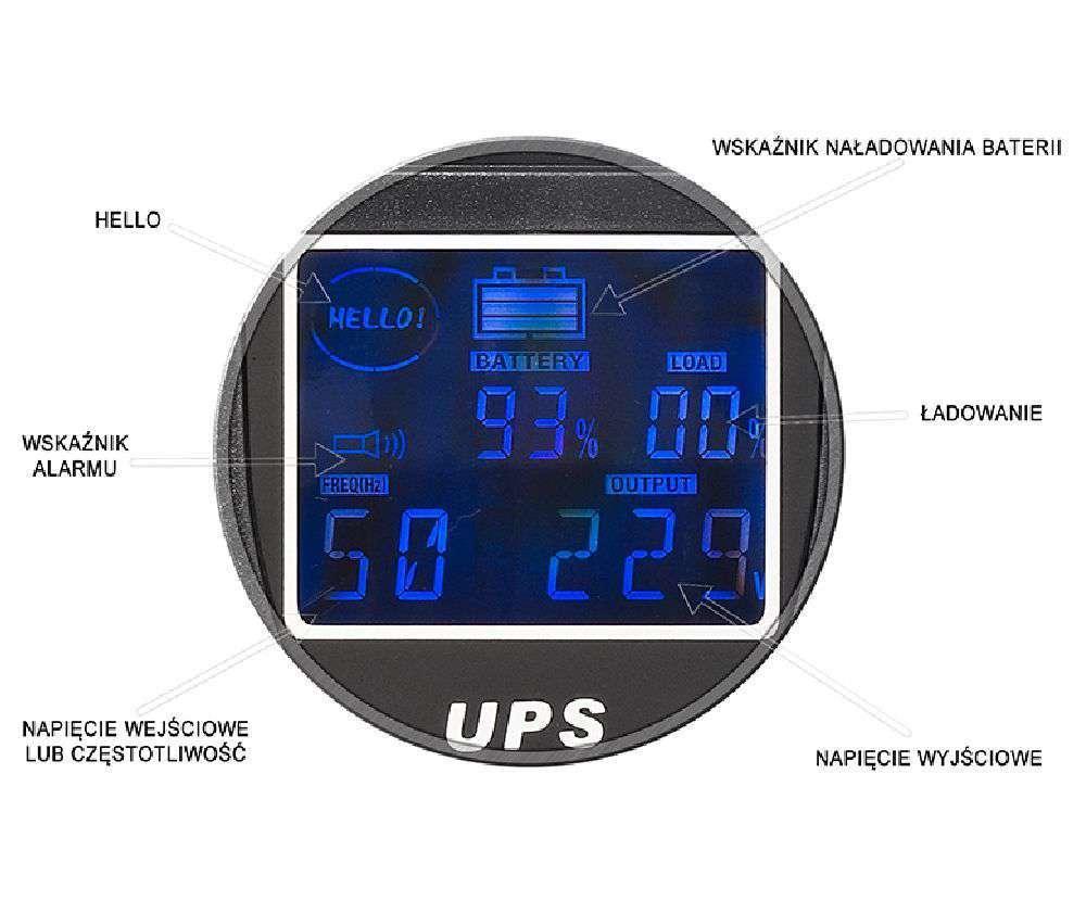UPS1200R EAST WBUDOWANY WYŚWIETLACZ LCD