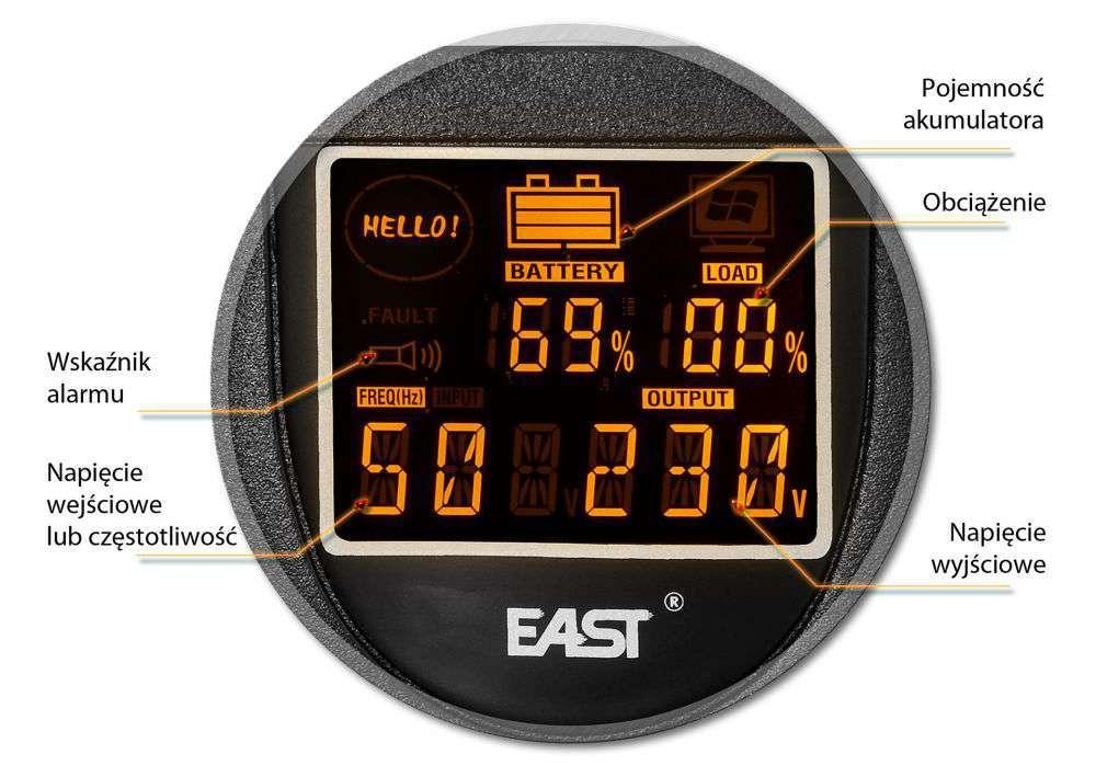 UPS650-R-LI EAST WBUDOWANY WYŚWIETLACZ LCD