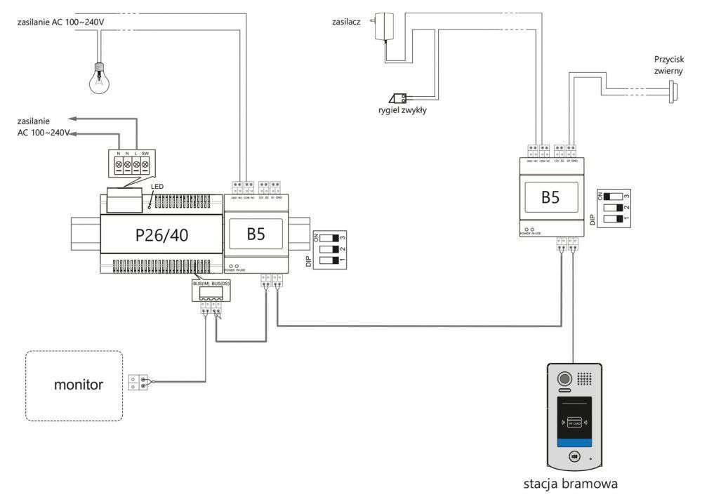 vidos duo b5 schemat podłączenia elektrozaczepu oraz oświetlenia