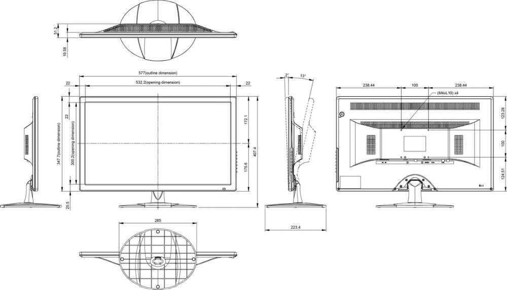 rysunek techniczny ag neovo SC-24AH