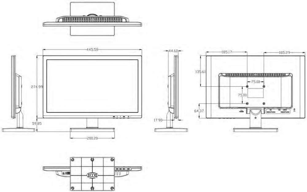 rysunek techniczny i wymiary monitora hikvision