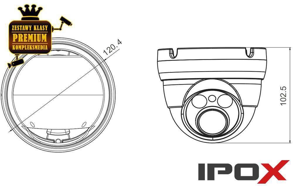 Wymiary kamery PX-DVH2002-E/W IPOX