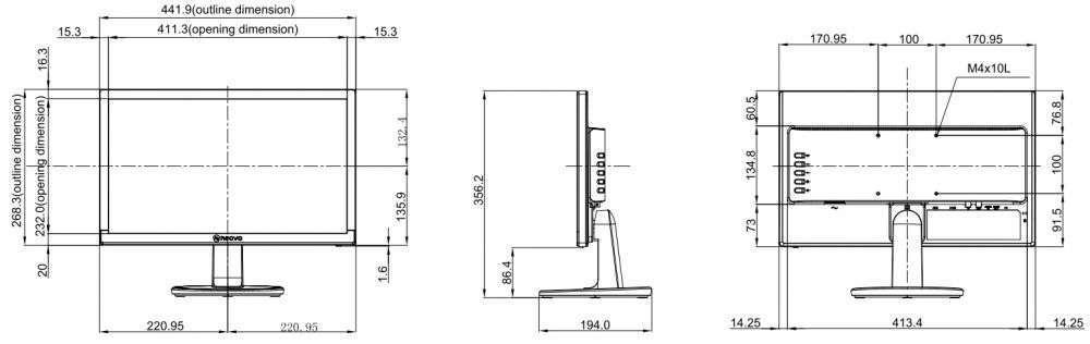 rysunek techniczny ag neovo SC-19E