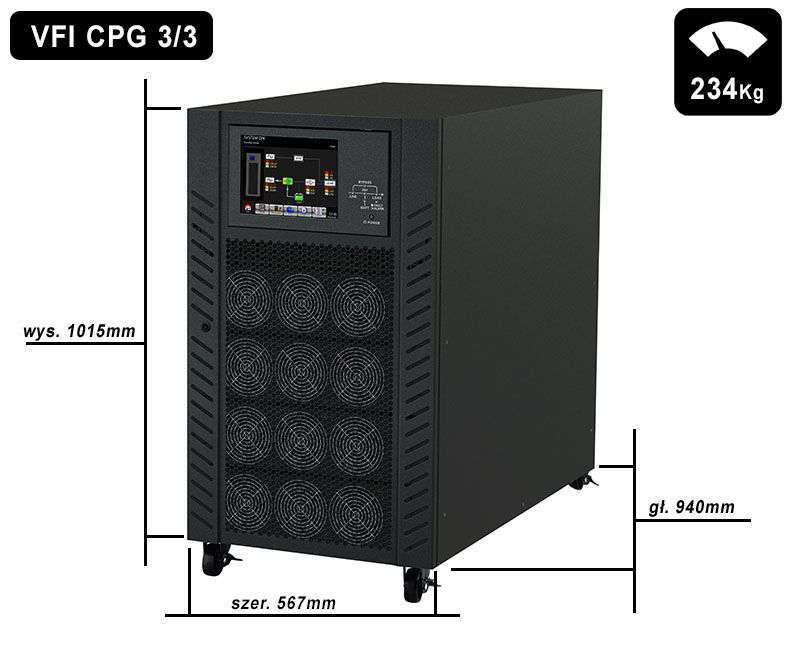 VFI 120K CPG 3/3 BX PowerWalker wymiary i waga