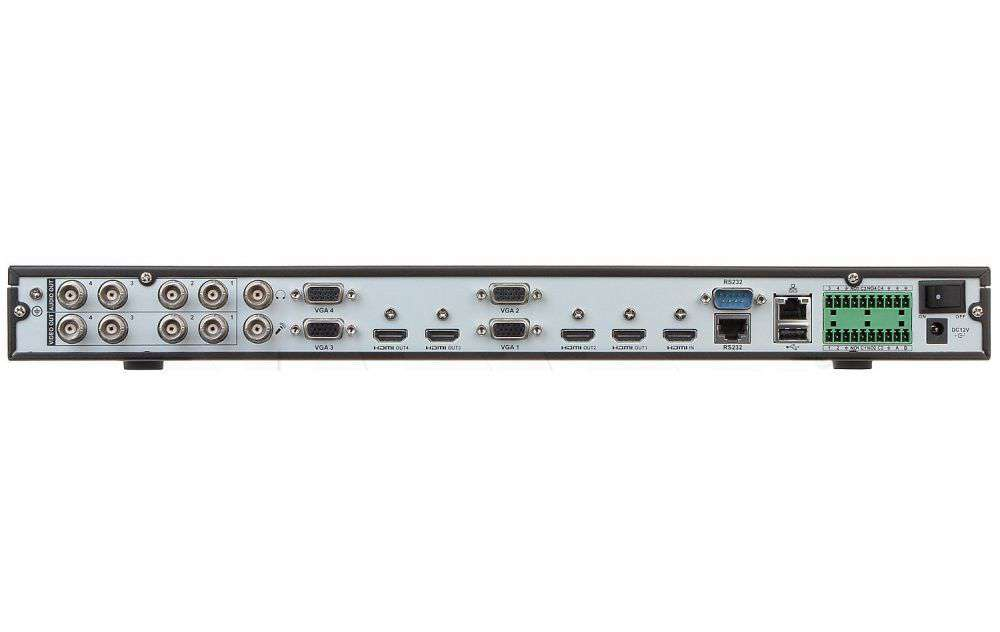 ☆ 4x VGA ☆ 4x BNC ☆ 4x HDMI (4K UHD) ☆ 12MPX ☆ H.265 ☆ RS485 ☆ RS232 ☆ 2x USB ☆ Audio ☆ Alarm ☆ LAN ☆ DVR ☆ NVR ☆ Linux