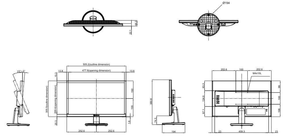 rysunek techniczny ag neovo SC-22E