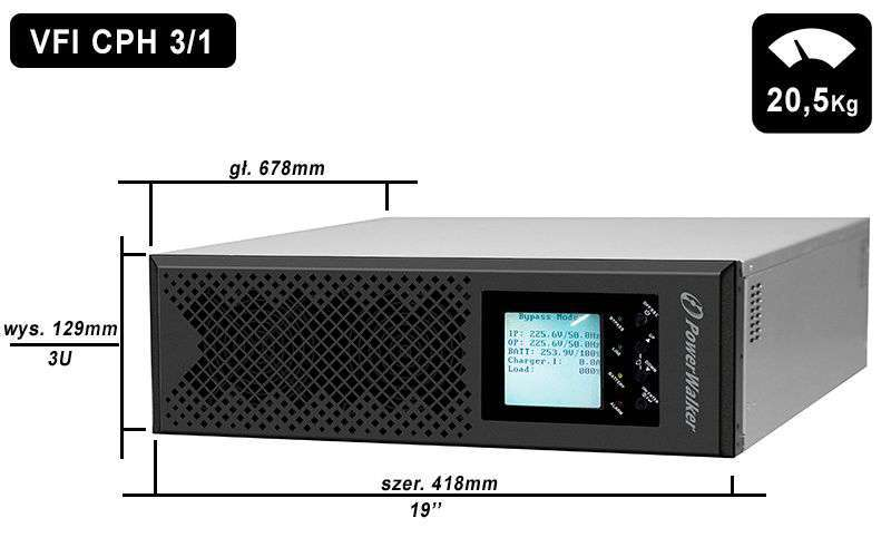 VFI 10K CPH 3/1 PowerWalker wymiary i waga
