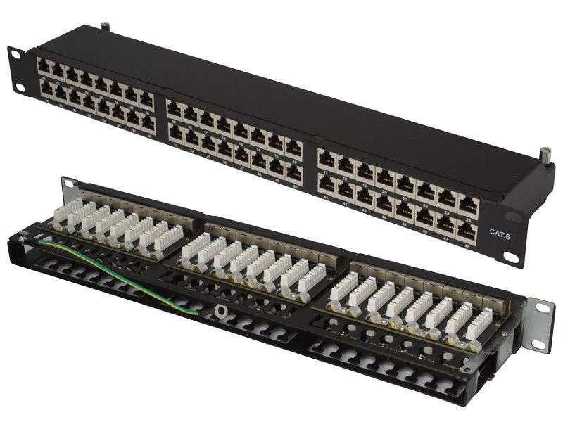"""48 portowy ekranowany patch panel STP Cat.6 RJ-45 1U 19"""" Base Link"""
