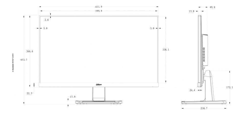 rysunek techniczny i wymiary monitora dahua