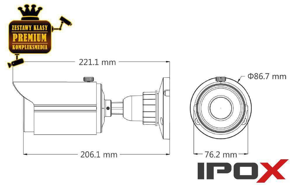 Wymiary kamery PX-TH5036 IPOX