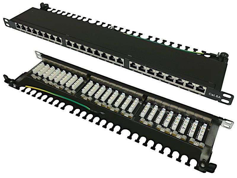 """24 portowy ekranowany patch panel STP Cat.6A RJ-45 0.5U 19"""" Base Link"""