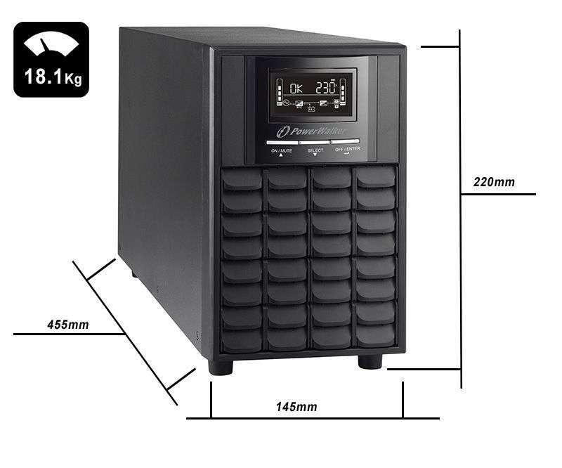 VI 2000 CW IEC PowerWalker wymiary i waga