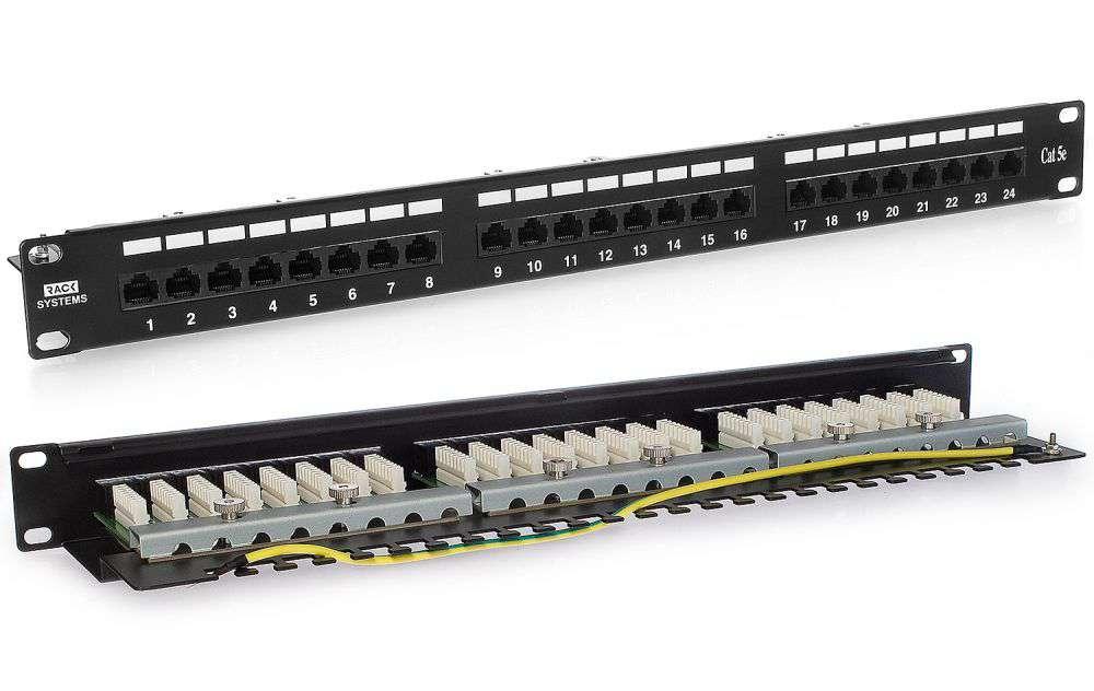 24 portowy nieekranowany patch panel UTP Cat.5e PP24E Rack Systems