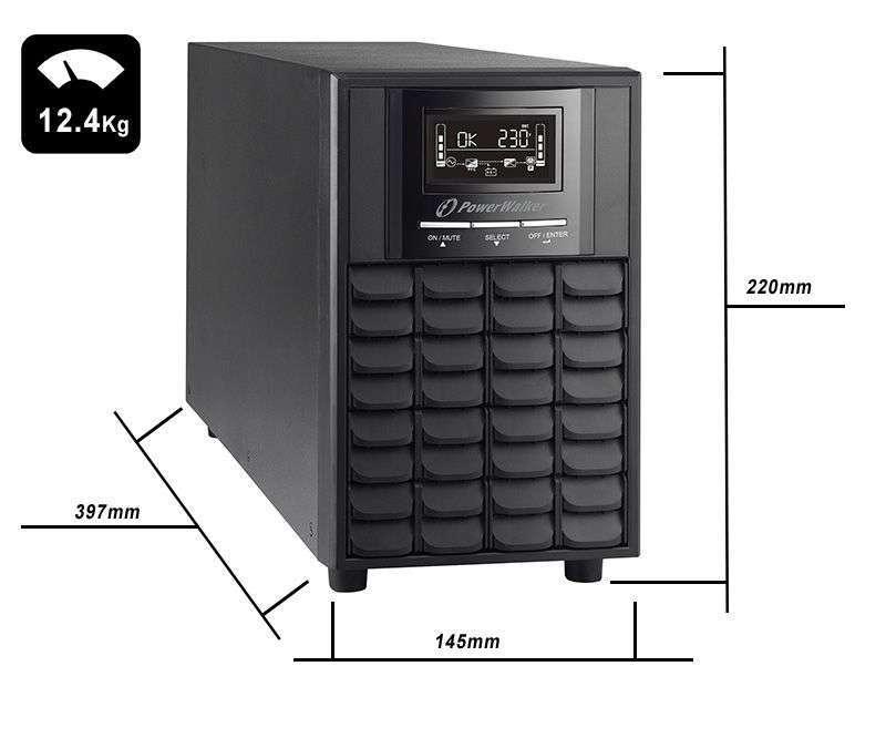 VI 1500 CW FR PowerWalker wymiary i waga