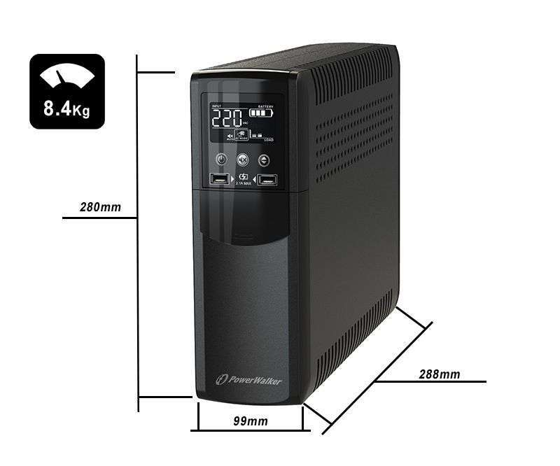 VI 800 CSW PowerWalker wymiary i waga