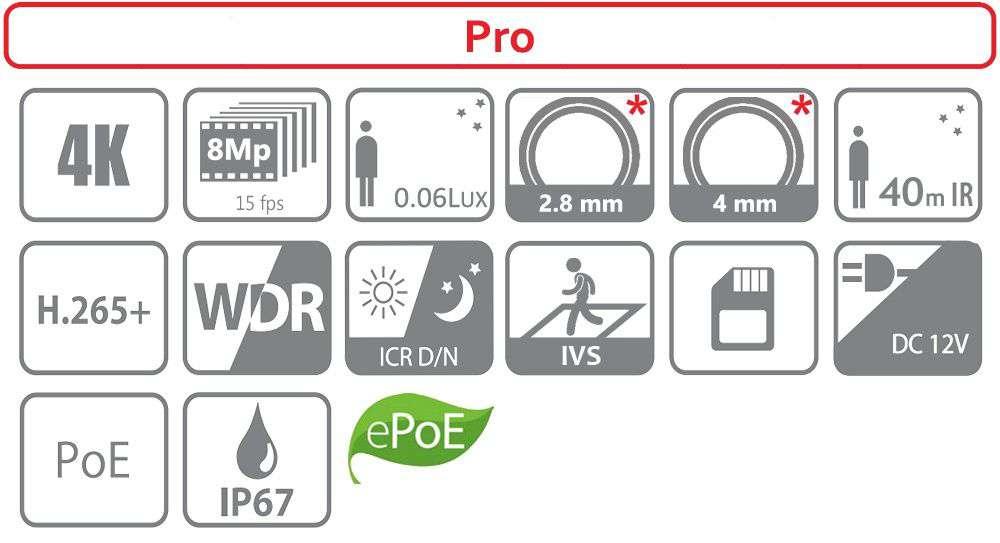 Kamera do monitoringu IP sieciowa DH-IPC-HFW4831E-SE-0400B DAHUA (8MPX)