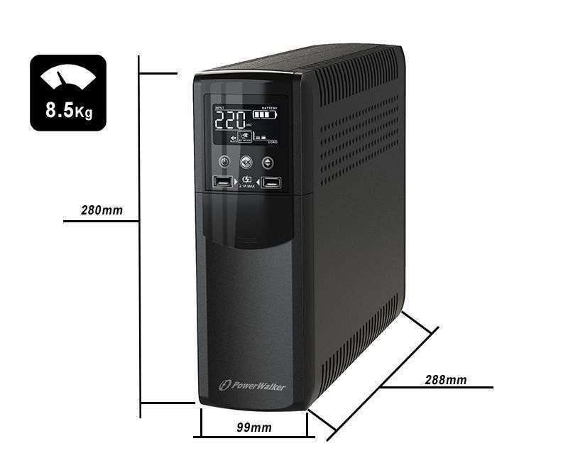VI 1000 CSW FR PowerWalker wymiary i waga