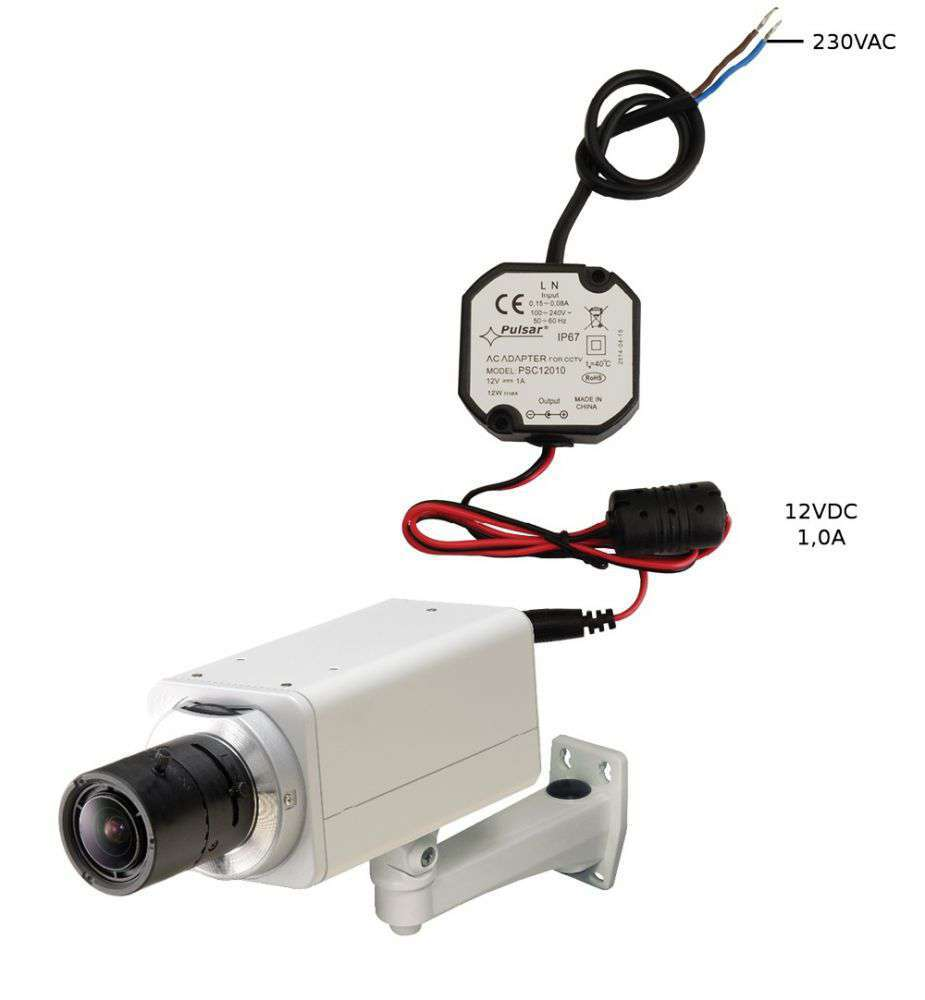 Przykład zasilacza impulsowego PSC12010 stabilizowany do kamer CCTV Pulsar