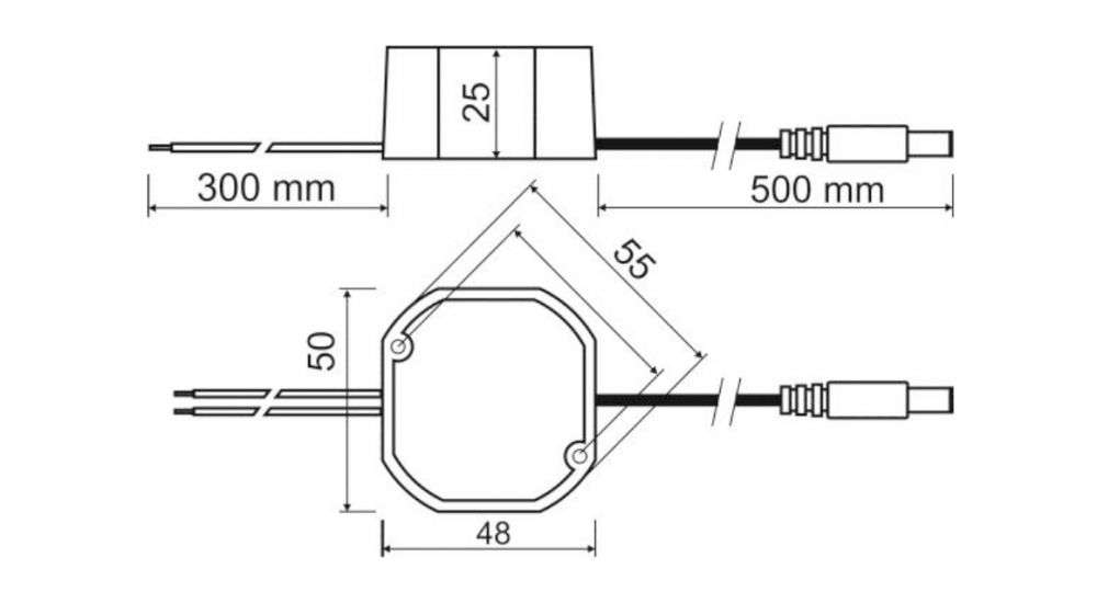 Wymiary zasilacza impulsowego PSC12010 stabilizowany do kamer CCTV Pulsar