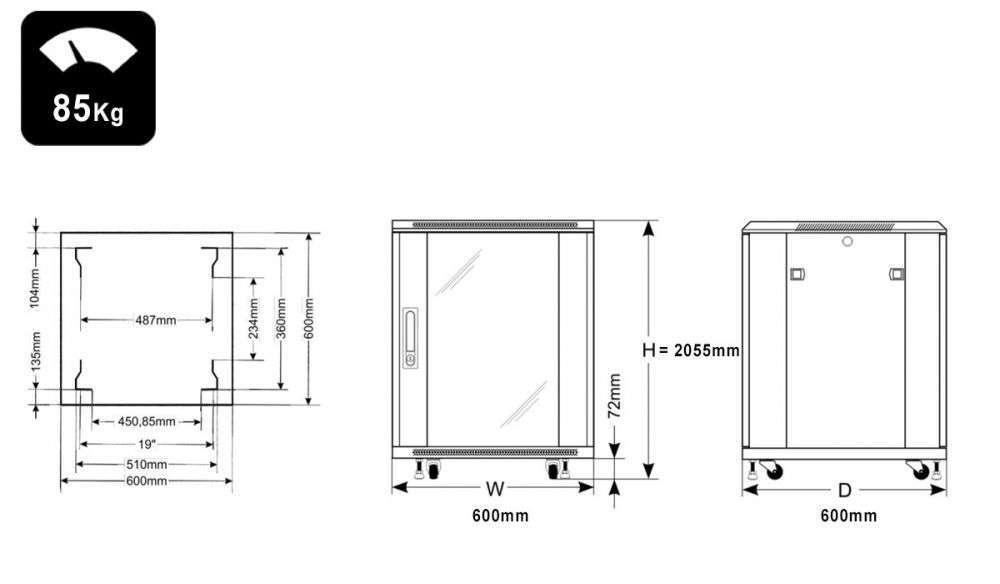 Wymiary szafy RACK 42U stojąca do złożenia 600x600