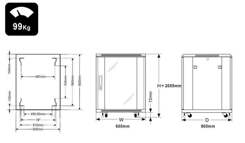 Wymiary szafy RACK 42U stojąca do złożenia 600x800
