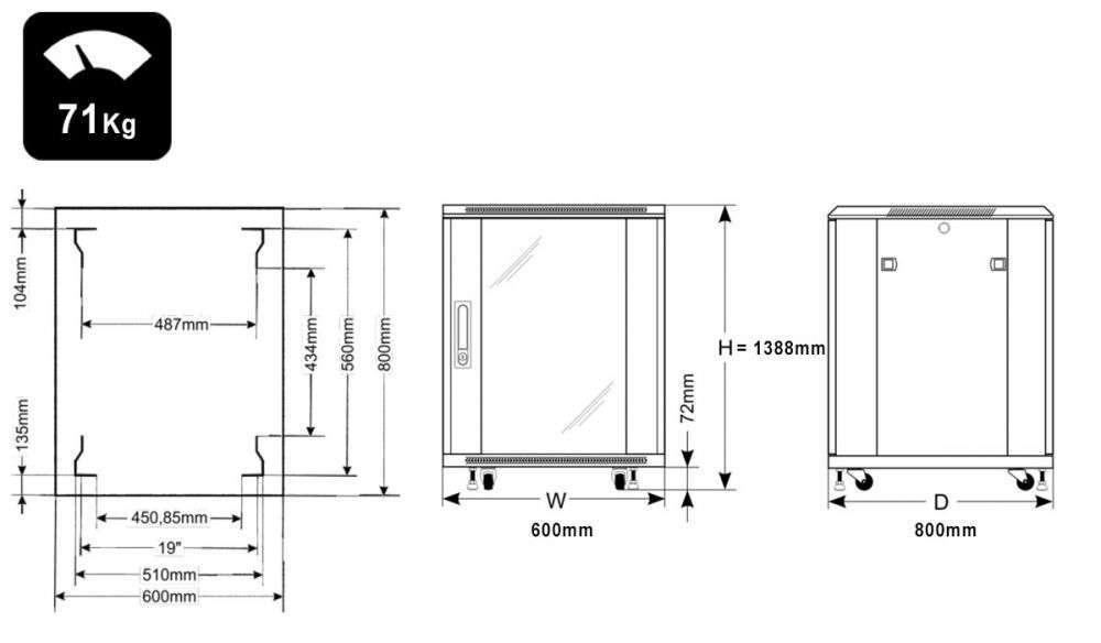 Wymiary szafy RACK 27U stojąca do złożenia 600x800
