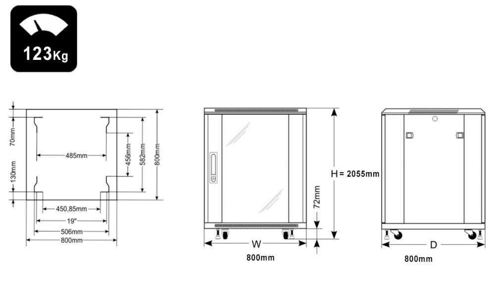 Wymiary szafy RACK 42U serwerowa do złożenia 800x800