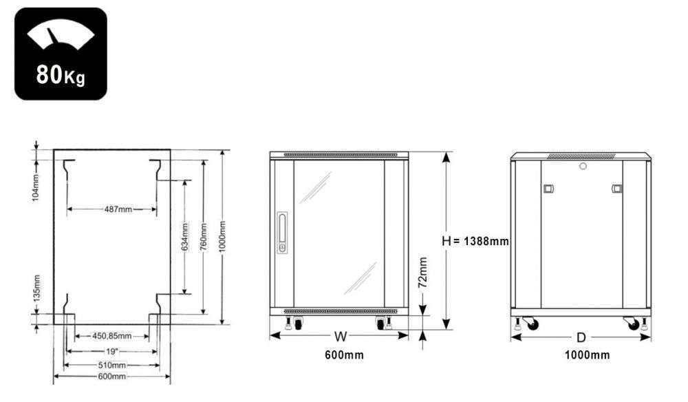 Wymiary szafy RACK 27U stojąca do złożenia 600x1000
