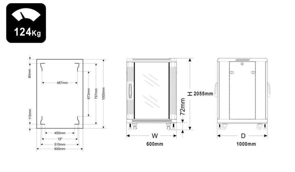 Wymiary szafy RACK 42U stojąca do złożenia 600x1000