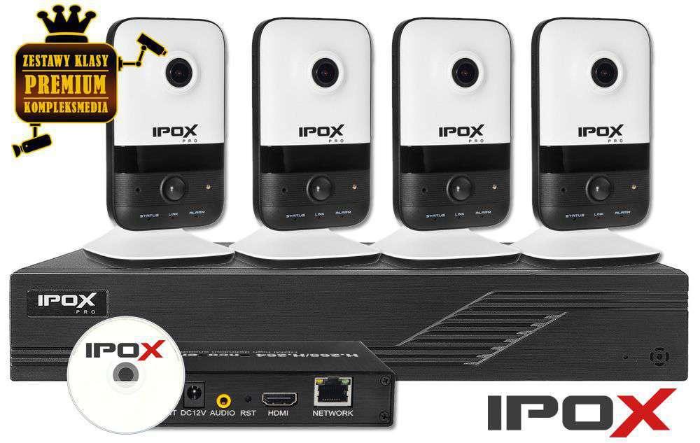 Zestaw monitoringu IP do transmisji NA ŻYWO ZMIP-IPO4KC20/LS (2MPX) IPOX