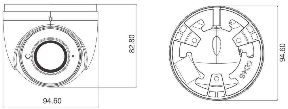 wymiary kamery 2Mpx PX-DIP2028SL/W IPOX