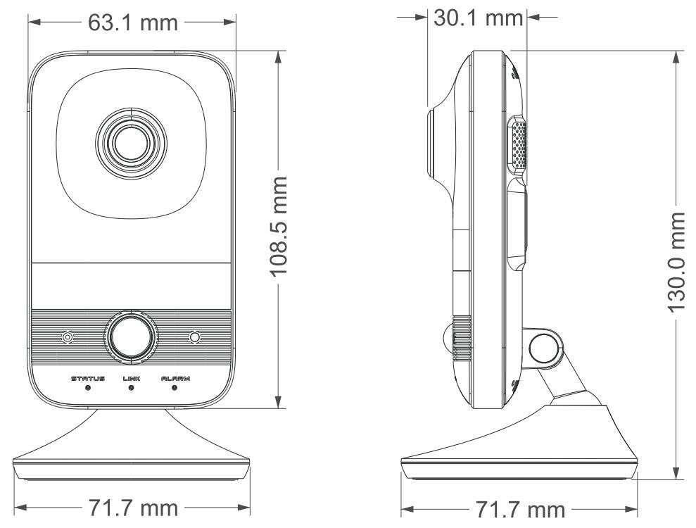 wymiary kamery bezprzewodowej ip wifi ipox px-ci2028amsw ipox
