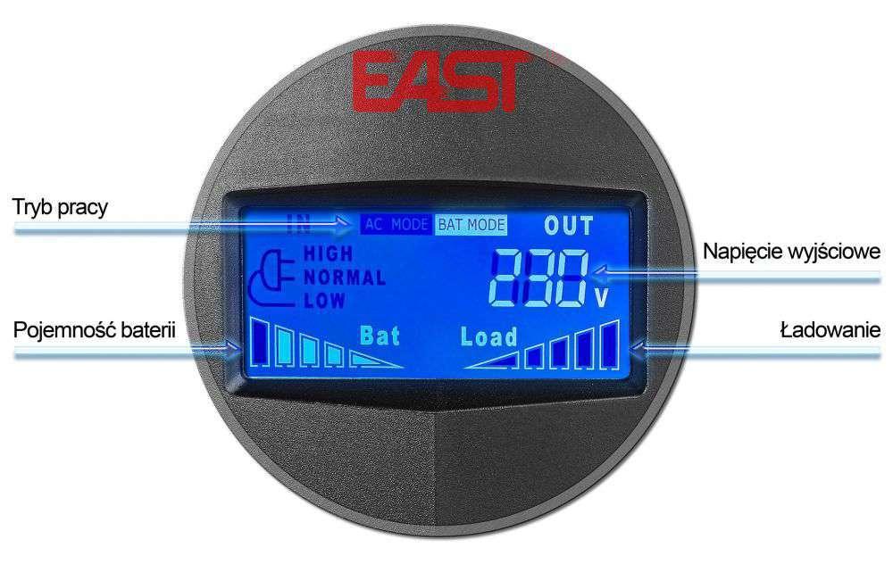 UPS1500-T-LI/LCD EAST WBUDOWANY WYŚWIETLACZ LCD