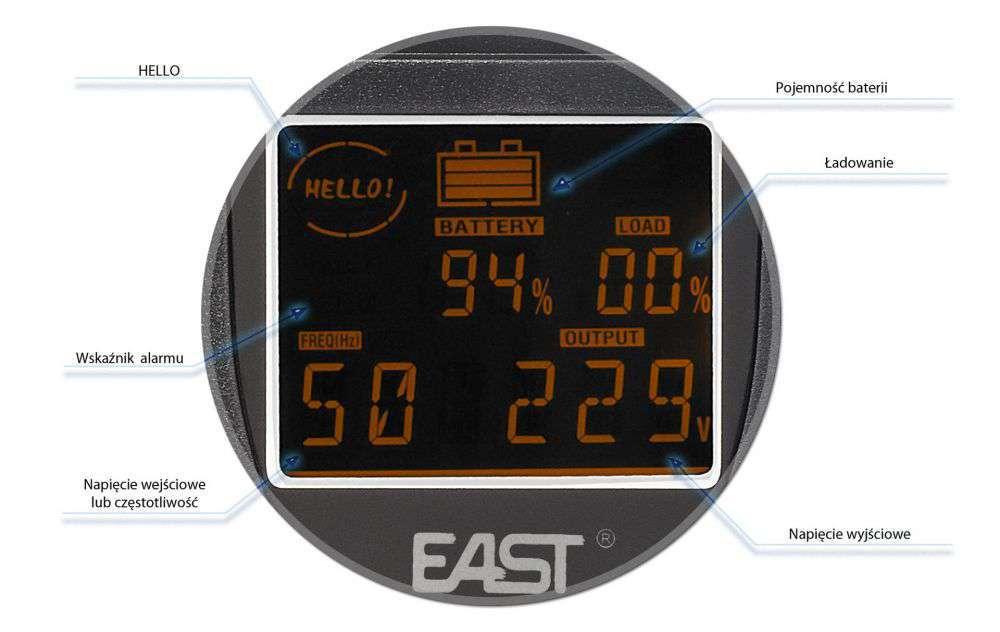 UPS2000-T-LI/LCD EAST WBUDOWANY WYŚWIETLACZ LCD