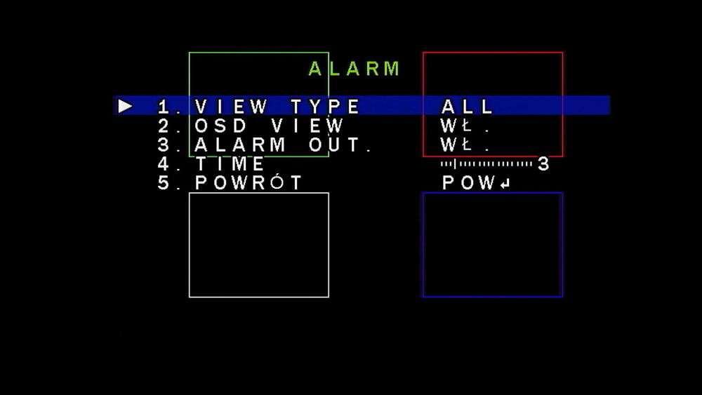 menu OSD dostępne z poziomu rejestratora lub poprzez kontroler UTC-AHD (obsługa CoC w trybie AHD/CVBS)