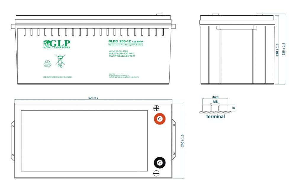 GLPG 200-12 GLP wymiary akumulatora baterii