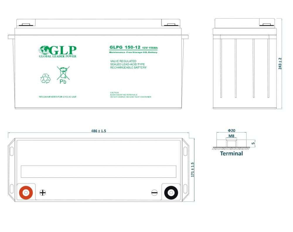 GLPG 150-12 GLP wymiary akumulatora baterii