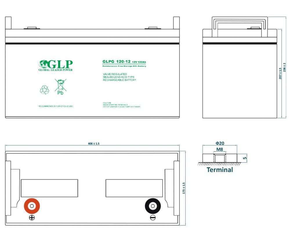 GLPG 120-12 GLP wymiary akumulatora baterii