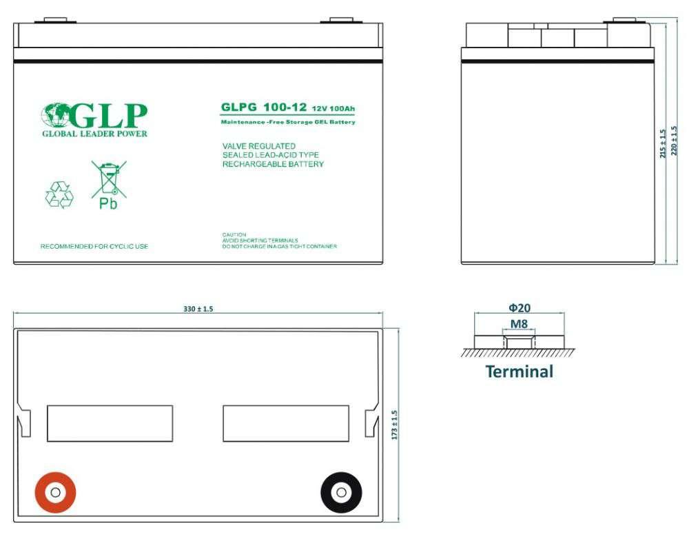 GLPG 100-12 GLP wymiary akumulatora baterii