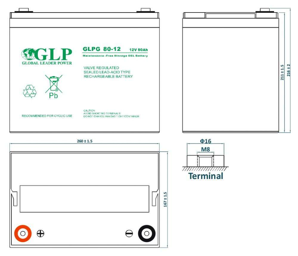 GLPG 80-12 GLP wymiary akumulatora baterii