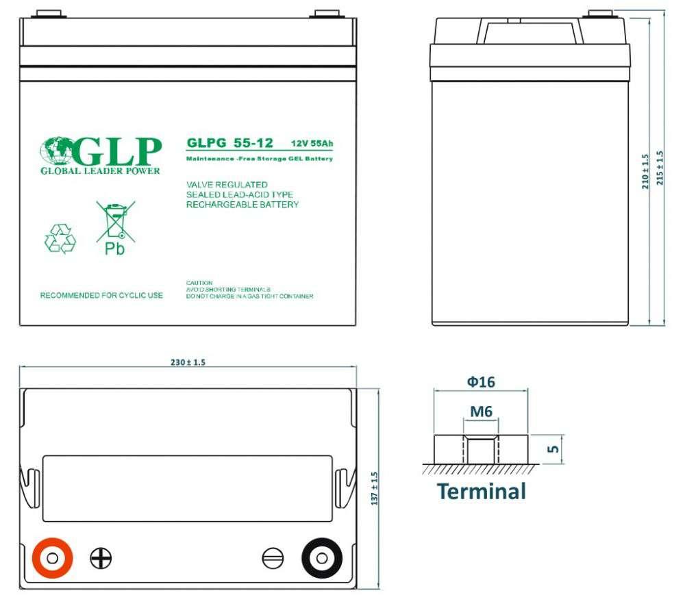 GLPG 55-12 GLP wymiary akumulatora baterii